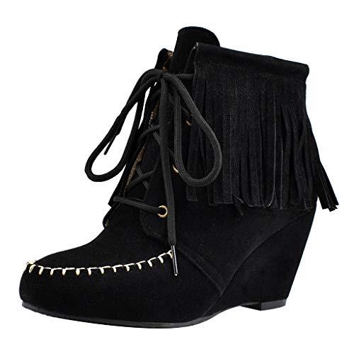 ROVNKD✿ Zapatos de mujer con cuñas, tallas con dobladillo, zapatos informales con cordones, zapatos modernos, Charme35-43, color Negro, talla 43 EU