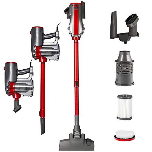 Balter Vento H2 Zyklon-Staubsauger ✓ Beutellos ✓ Teleskopstange ✓ 600W Saugleistung ✓mit Wandhalterung und Zubehör ✓ HEPA-Filter ✓ Handstaubsauger (Rot)