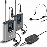 Wireless Headset Lavalier Microphone System -Alvoxcon Dual Wireless Lapel Mic for IPhone, DSLR