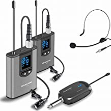 Wireless Headset Lavalier Microphone System -Alvoxcon Dual Wireless Lapel Mic Compatible with iPhone, DSLR Camera, PA Speaker, YouTube, Podcast, Video Recording, Conference, Vlog, Interview