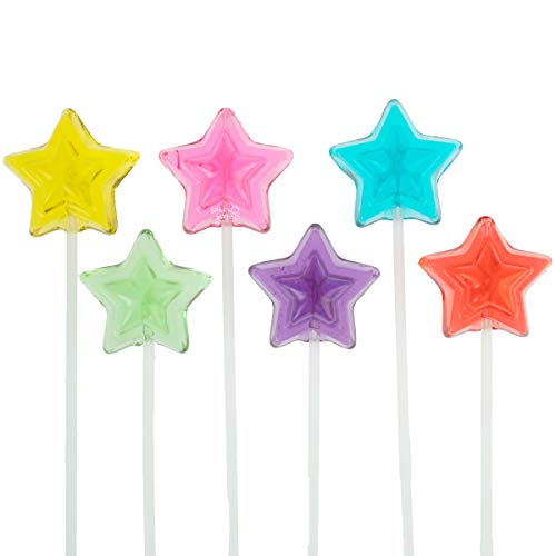 Twinkle Pops Lollipop, Stars Shapes (Pack of 120 Lollipops), 12 inch Long Lollipop Stem, Handcrafted in USA, 6 Vibrant Colors, Fruit Flavors, 37.80 Ounce by Sparko Sweets