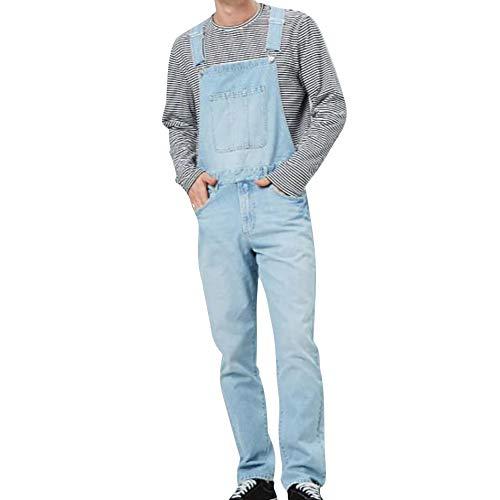 Heflashor Herren Jeans Latzhose Overall Lange Jeanshose Denim Jumpsuit Lightwash Destroyed Ripped Hosenträger Jeanshose Freizeit