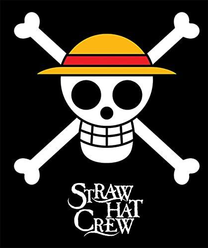 GE Animation GE-57051 One Piece Straw Hat Pirates Throw Blanket, 50' x 60',Black