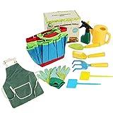 6Wcveuebuc Kinder-Gartenwerkzeug-Set, Gartenspielzeug mit Handschuhen, Schürzen, Wasserkocher, Schaufel, für drinnen und draußen, Spielzeug für Jungen und Mädchen, Mini-Hand-Gartenwerkzeug-Set