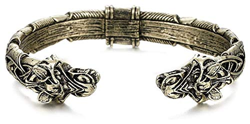 GSJDD Open Cuff Bracelet, Handcrafted Bracelet Viking Bracelet Fashion Jewelry for Men (Color : Bronze)