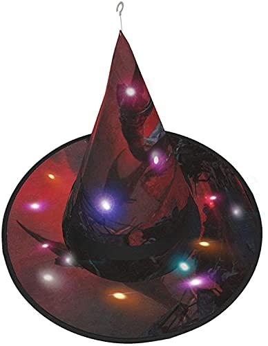 KINGAM Sombrero de bruja Noche Monstruo LED Luminoso Cap Bruja Sombrero Cadena Luces Halloween Decoración para Patio Exterior Interior Árbol Negro