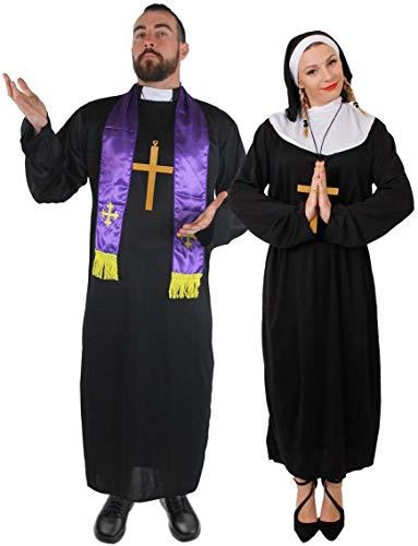 ILOVEFANCYDRESS - Disfraz de pareja de monja y cura para adultos (tallas S - XXL)