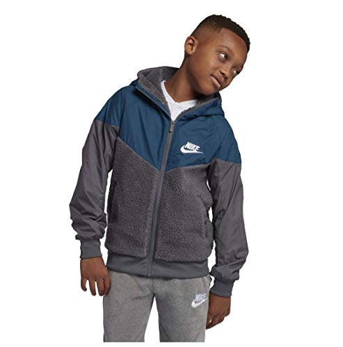 Nike Boy's Sportswear Windrunner Sherpa Jacket Dark Grey Blue Force AA0069-021 (L)