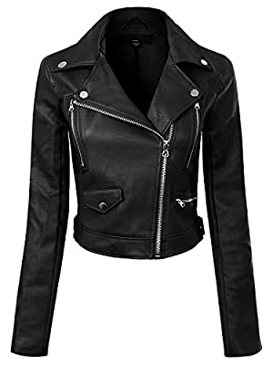 Design by Olivia Women's Long Sleeve Zipper Closure Moto Biker Faux Leather Jacket Black 3XL