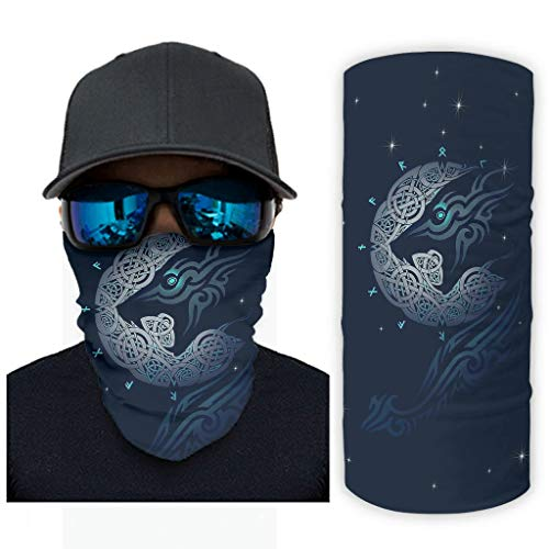 NA vintage blauw viking wolf maan knopen dotem druk bandana gezichtsmasker zonnebescherming sjaalmasker