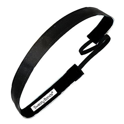 Sweaty Bands Womens Girls Headband - Non-Slip Velvet-Lined Fashion Hairband - Wicked Black 5/8-Inch