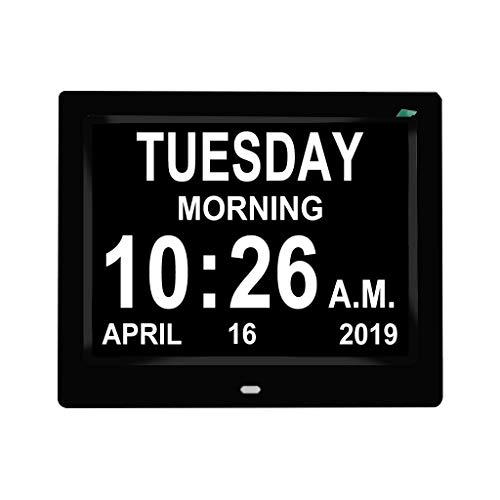 Calendario de reloj digital IPS, de 8 pulgadas con gran fidelidad de fecha, recordatorio para personas mayores y niños pueden reproducir imágenes/música/vídeos.