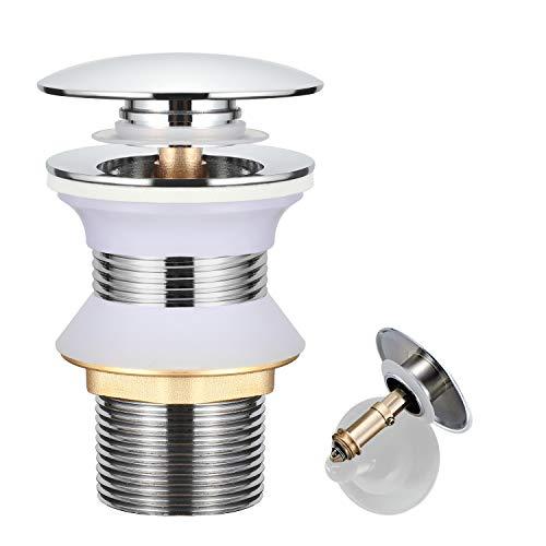 WOOHSE Universal Ablaufgarnitur für Waschbecken ohne Überlauf, Messing Pop Up Click Clack Ventil Ablaufventil für Waschtisch, 1 1/4 Zoll Abflussgarnitur Werkzeugloser Einbau