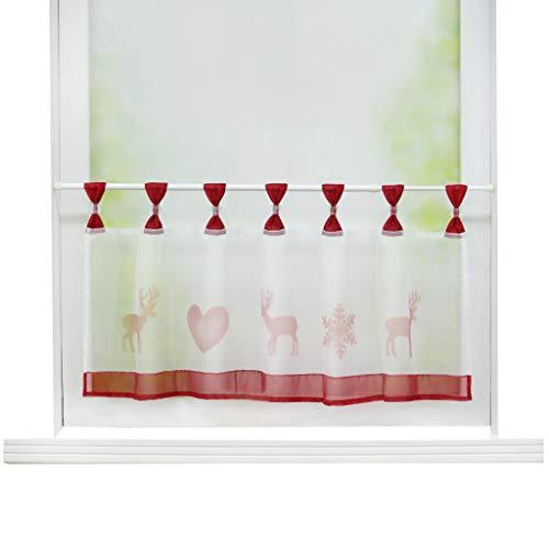Joyswahl Scheibengardine Voile Bistrogardine »Elch« mit Weihnachten Muster Transparente Gardine Stores HxB 45x120cm Rot 1er Pack