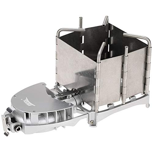 Cestbon Mini Estufa Que acampa Estufa/Madera con Lata Sistema de Ventilador, Material: Acero Inoxidable de Alta Temperatura, el tamaño despliegue: 24 * 12cm,Plata