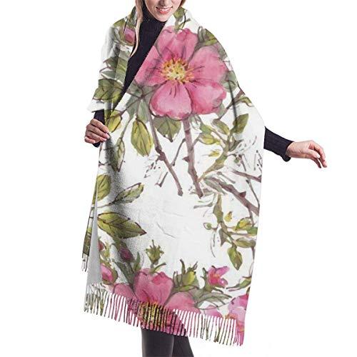 Acuarela perro patrón de jardín de rosas con hojas y capullos chal abrigo invierno cálido bufanda capa bufanda grande bufandas de gran