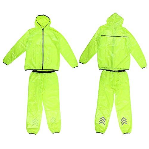 VGEBY Damen & Herren Regenanzug Atmungsaktive Regenjacke und Hose mit Reflexstreifen Unisex wasserdichte Regenbekleidung Hooded Rainsuit für Radfahren,Wandern,Outdoor-Sport (Grün) (Abmessung : L)