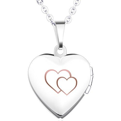 Unendlich U Schön Doppel Herzen Eingraviert Öffenbares Herz Foto Medaillon Edelstahl Mädchen Damen Anhänger Halskette Herz Kettenanhänger, Blau