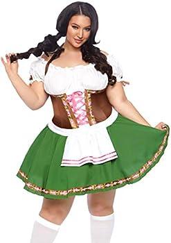 Leg Avenue Plus Size 2 Piece Gretchen Costume Set-Oktoberfest Peasant Top Dress for Women Green/Brown 1X-2X