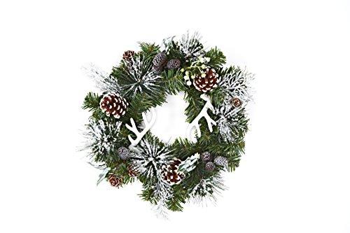 Heitmann Deco dekorierter Weihnachts-Kranz mit Zapfen und Geweihen - künstliche Tanne-Zweige - Deko-Kranz - grün/weiÃ