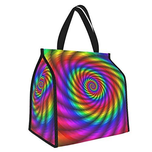 Psichedelic Rainbow - Bolsa de almuerzo con diseño de arco iris, organizador de comida para mujeres, hombres y mujeres