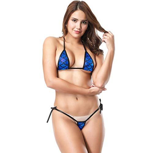 Bikini Hot Ladies Mermaid Mini Bikini Triangle Brasil Metallic Shine Ropa de Fiesta Sujetador Micro Tanga Tanga Conjunto Ropa Interior Cálido Shea Lencería Bañador Traje De Baño Traje De Baño