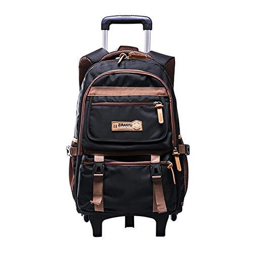 Meijunter Trolley Schultasche mit Räder - Rollender Schulrucksack für Kids Studenten Kinder Mädchen Jungen(6 Räder Schwarz)