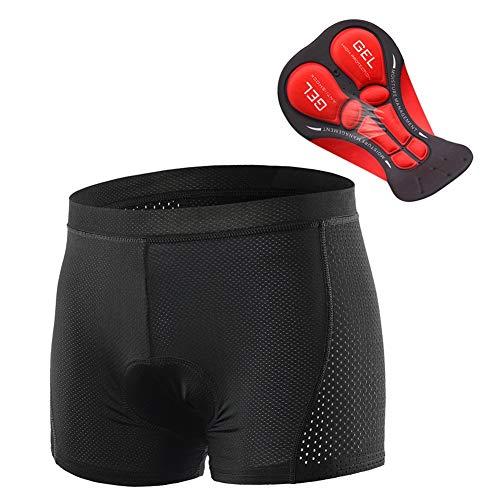 Asdfger Men's Cycling Underwear Shorts 5D Padded Gel Cycling Shorts MTB Bicycle Underwear for Outdoor Indoor Exercise Bike (Color : Black, Size : L)