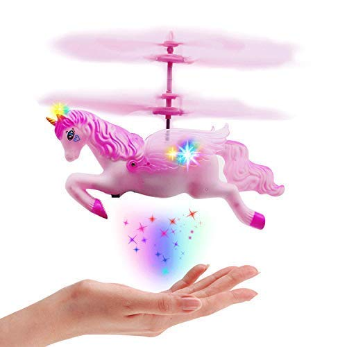 Flying Unicorn Drone Toys Gifts for Girls Age 6 7 8 9-14 Years Old, Pink Mini Hand Control Flying Helicopter Unicorn Fairy Doll Toys