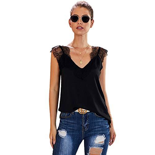Wivarra Damen Sommer L?Ssig V-Ausschnitt Spitze Cami Tanktops Mode ?Rmellose Blusen und Hemden Schwarz M