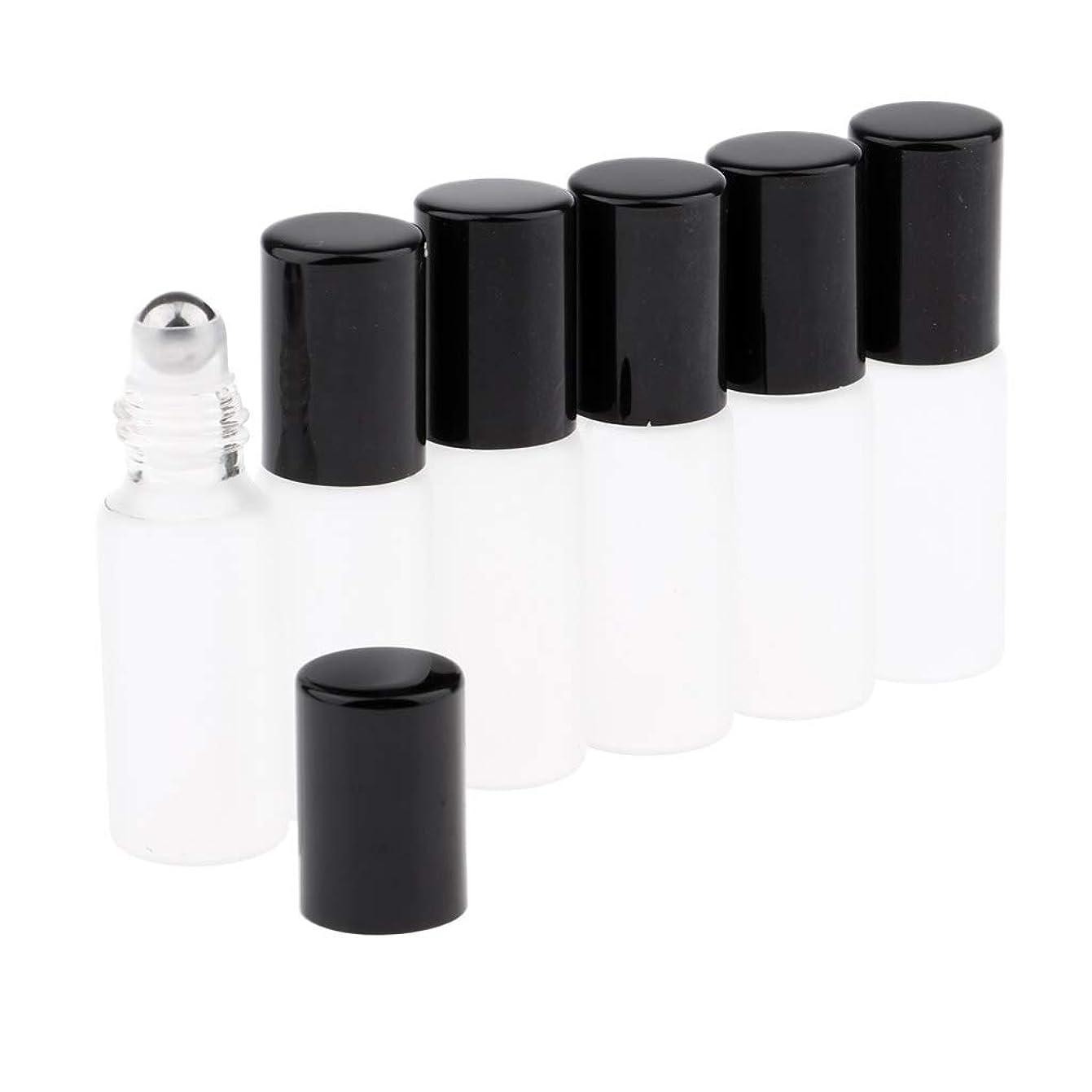 委任する力強い頼るCUTICATE ガラスアロマボトル 精油 小分けボトル アロマオイル用瓶 香水用瓶 空のローラーボトル 精油ロールボトル 3色 - ブラック