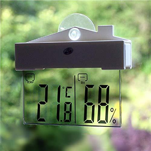 KAR LCD Digital Transparent Anzeige Thermometer Aräometer Fenster-Saugschalen-Innen Außen-Wetterstation Thermometer