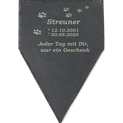 Feiner-Tropfen Tier-Grabstein für Hund Katze Gedenktafel personalisiert Schiefer 30x20cm F-Sp