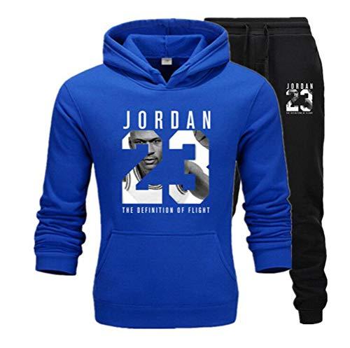 FSBYB Mens Anzug, Jogger Hoody Sportwear, Michael Jordan Jersey # 23 Sweatshirt Hose Set für Männer,Blau,L
