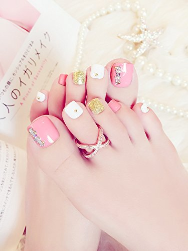 Skyvan 24 PCS Set Press On Pink Toenails False Toenails with Rhinestone Full Cover Summer Fake Nails for Toes with Glue