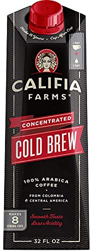 Califia Farms - Cold Brew Coffee, Black Unsweetened Concentrated, 32 oz | Makes 8 Servings | Clean Energy | Smooth & Balanced | Whole30 | Keto | Non-GMO | Low Calorie | Shelf Stable