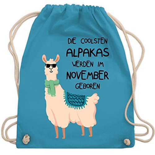 Shirtracer Geburtstag - Die coolsten Alpakas werden im November geboren Sonnenbrille - Unisize - Hellblau - alpaka adventskalender - WM110 - Turnbeutel und Stoffbeutel aus Baumwolle