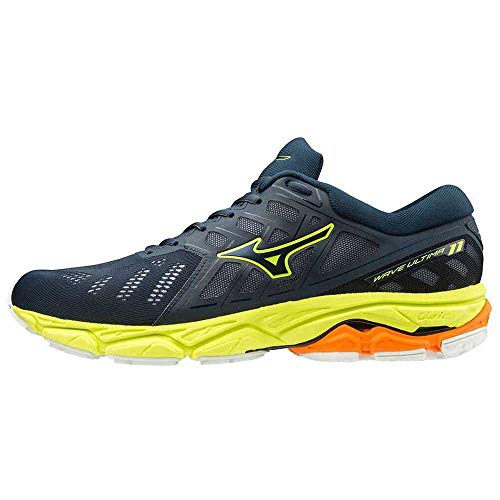 Mizuno Wave Ultima 11, Scarpe da Corsa Unisex-Adulto, Dress Blues/Dres Blues/Safety Yellow, 44 EU