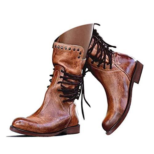 Hinyyrin Damen Reitstiefel Mittelkalb Stiefel Stiefel Retro Low Heel Schnürstiefel Reißverschluss Block Plattform Braun Größe 36