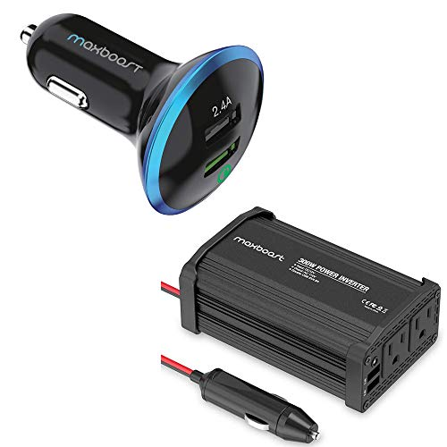 Maxboost 300W Car Power Inverter and 30W Quick Charge 2.0 Car Charger for Smartphone