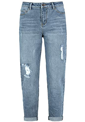 Sublevel Damen Boyfriend Jeans-Hose mit Destroyed Parts Middle-Blue L