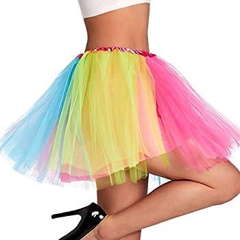 Phantomon Tutu Skirt Women s Teens Classic Elastic 4 Layered Tulle Ballet Tutu Skirt Adult Size Non See-Through  Rainbow