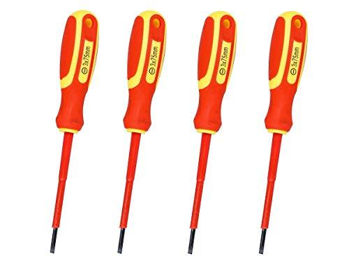 LEDLUX de 4 piezas Destornillador plano aislado, hoja aislante para electricista (3X75mm)