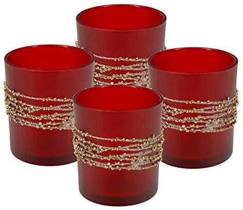 Teelichthalter aus Glas | Höhe 10cm | Windlicht 4er Set | Teelicht Kerzen-Halter mit Verzierungen