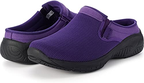 WHITIN Women's Slip On Mules Clogs Arch Support Knit Sneakers Casual Winter Slippers Size 10 Nursing Chefs Home Kitchen Work Slide in Shoes for Female Purple 42