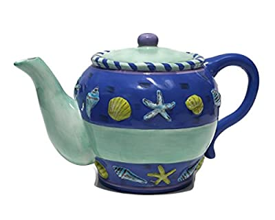 CBK Styles Seashells Beach Theme Ceramic Blue Green Teapot Decorative Tea Pot