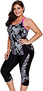 LALAGEN Women's Plus Size Rash Guard Capris Tankini Athletic Swimwear