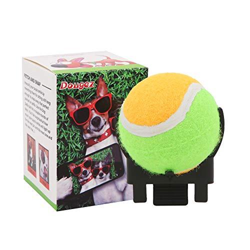 Geluode Haustier-Selfie-Stick mit Clip, 6,5 cm, Tennis-Telefon-Befestigung für Hunde und Haustiere, Agilitätstraining, Fotoball, Welpen, Fotografieren, Interaktionsspielzeug