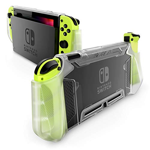 Mumba Dockable Case Compatible for Nintendo Switch, [Blade Series] TPU Grip Protective Cover Case with Ergonomic Design and Comfort Grip (Clear)