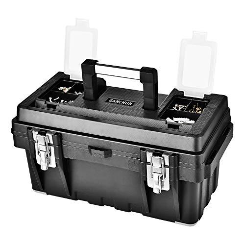 工具箱 工具収納 収納ボックス 小物収納ケー 大容量 収納ケース 取っ手付き ツールボックス 透明収納ケース3個付き (幅)約43x(奥行)約22.5x(高さ)約20cm 黒